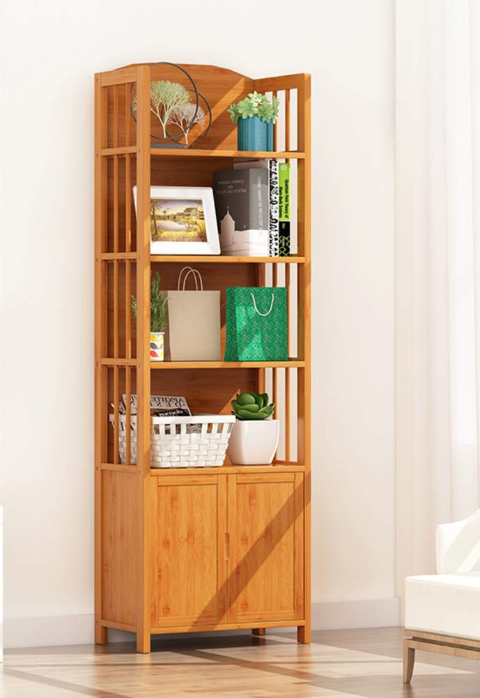 C 50x25x155cm(20x10x61inch) 2-4 Tiers Bookcase, Storage Cabinet, Bamboo Bookshelf with Drawers Doors Multi-Layer Floor Standing Shelf for Living Room Office-c 50x25x155cm(20x10x61inch)