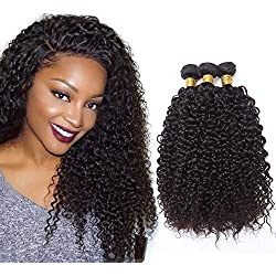 Brazilian Unprocessed Virgin Afro Kinky Curly Human Hair Weave 3 Bundles Deep Curly Hair Extensions Natural Color Mixed Length 16 18 20 Inches