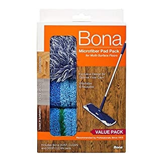 Bona Multi-Surface Floor Microfiber Cleaning Pads, 3 Count