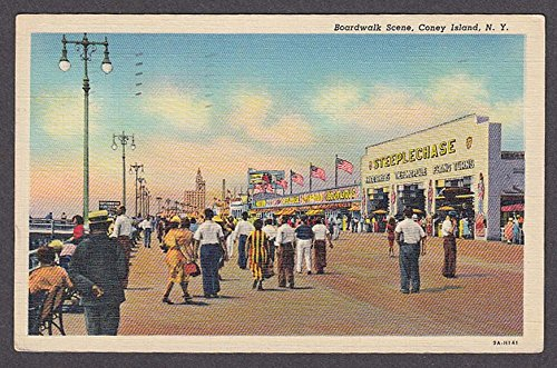 Steeplechase Boardwalk Scene Coney Island NY postcard 1946