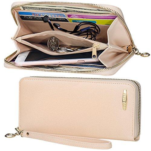 Women Wallet COCASES RFID Blocking PU Leather Zipper Clutch Wallet Wristlet Wrist Strap