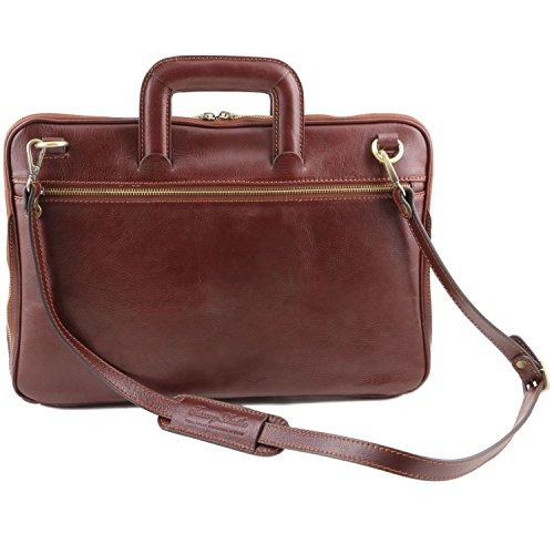 Piel Caserta Leather en Negro Portafolio Tuscany Marrón apBqwB
