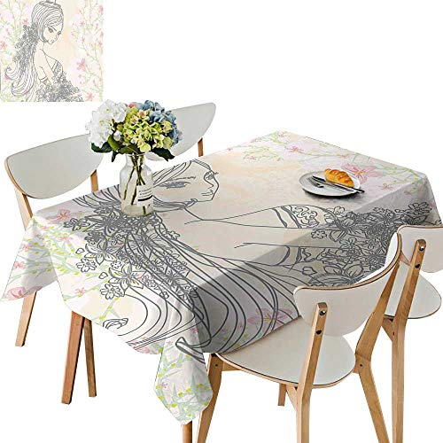 UHOO2018 Polyester Fabric Tablecloth Square/Rectangle Drawing of Fashion Girl in Fairyland Spring Field Daisies Peach Light Pink for Picnic,Outdoor or Indoor,52x 52 inch from UHOO2018