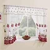 Winchester Kitchen Window Set - Red (47 Wide x 42 Drop) by Tonys Textiles