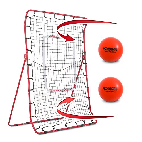 Rukket Pitch Back Baseball/Softball Rebounder PRO w/2 PurePower Weighted Balls | Pitching and Throwing Practice Partner | Adjustable Angle Pitchback Trainer