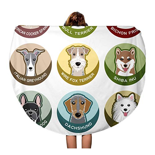 Semtomn 60 Inches Round Beach Towel Blanket Frise Dog Nameplate Bichon Greyhound Cocker Spaniel Italian Inu Travel Circle Circular Towels Mat Tapestry Beach Throw