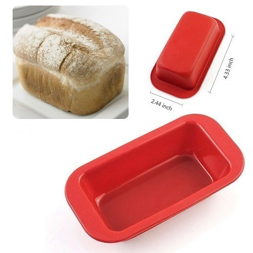 (Pack of 6Pcs Small Rectangle Silicone Mold Non Stick Bread Loaf Pan Candy Cake Baking DIY Soap Mould Crafts Christmas Toast Wave Bakeware Kitchen Pans nonstick Mini Red 2.44