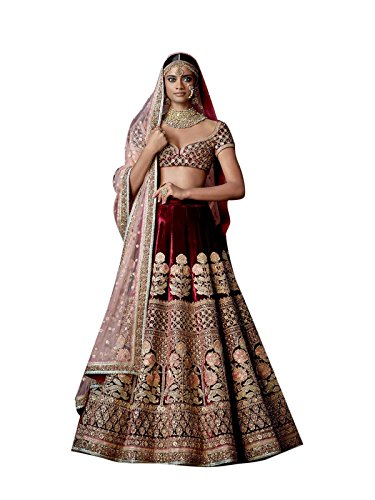 FotoableArc Women's Velvet Thread Work Semi-Stitched Bridal Lehenga Choli(Red_Freesize) (Red)