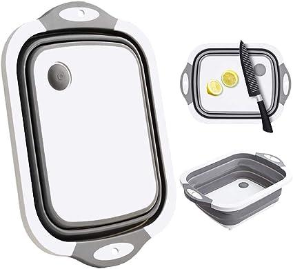 Tablas de cortar multifunción, plegable, portátil, para lavabo, cesta de drenaje, para ahorrar espacio, contenedor de almacenamiento plegable para ...