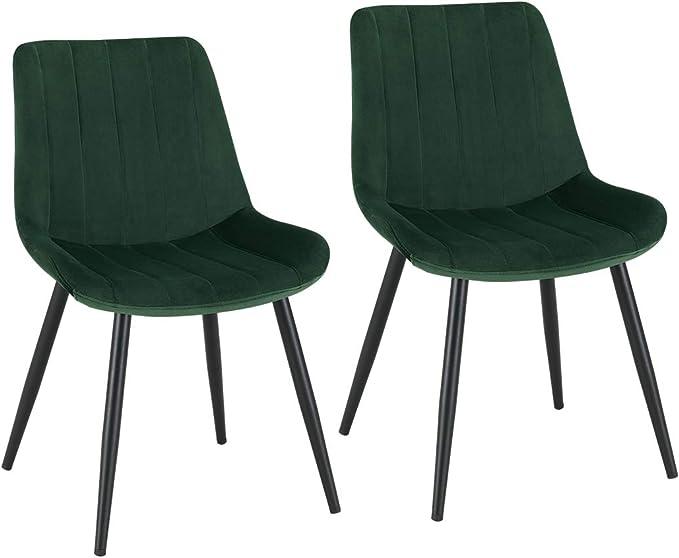 2X Chaise Salle à Manger en Tissu (Velours) Chaise rembourrée Design Retro avec Pieds en métal sélection de Couleur Duhome 8075C3, Couleur:Vert foncé,