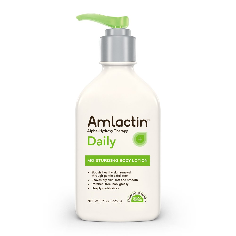 AmLactin Daily Moisturizing Body Lotion | Instantly Hydrates, Relieves Roughness | Powerful Alpha-Hydroxy Therapy Gently Exfoliates | Smooths Rough, Dry Skin | Paraben-Free 7.9 oz