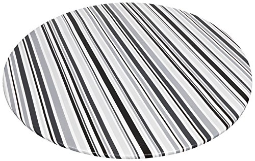 Carnation Home Fashions DFLN-F60RD/BS31 Bohemian Stripe Round Fitted Vinyl Tablecloth, 60