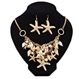 HUELE 2 IN 1 Summer Sea Shell Beach Necklaces Starfish Pearl Statement Chunky Necklace Pendant And Shell Earrings for Womens(Gold-plated)