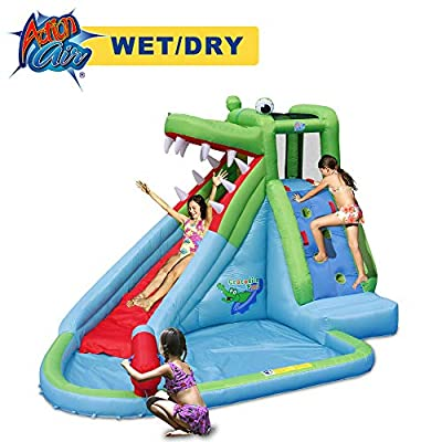 ACTION AIR Inflatable Waterslide, Crocodile Bounce House with Blower for Wet and Dry, Inflatable Water Pool with Splash and Slide, Idea for Kids, Extra Thick Material and Double Sewn Seam (9240): Toys & Games