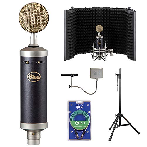Baby Bottle Microphone Condenser - Blue Baby Bottle SL Studio Condenser Microphone with RF-5P-B Reflection Filter, Reflection Filter Tripod Mic Stand, Blue Quad Cable & Windscreen Bundle