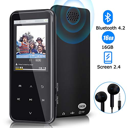 MP3 Player, 16GB Bluetooth MP3 Player with 2.4 Inch TFT Display, Digital Music Music Player with Earphone Support FM Speaker, Expandable Memory up to 128GB
