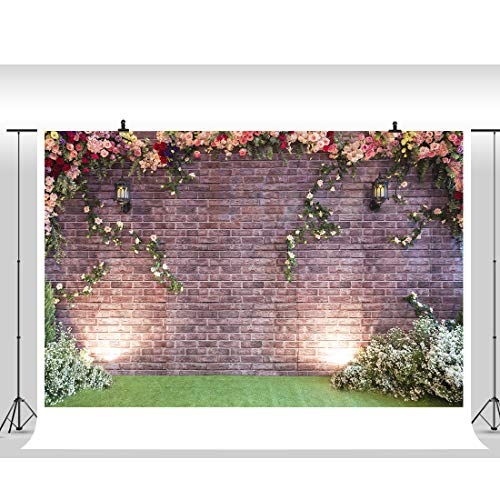 7X5Ft Flower Photo Backdrops Brick Wall Garden Photo Studio Prop Vinyl Backdrop Photo Booth Background for Wedding Baby Shower Photography Background