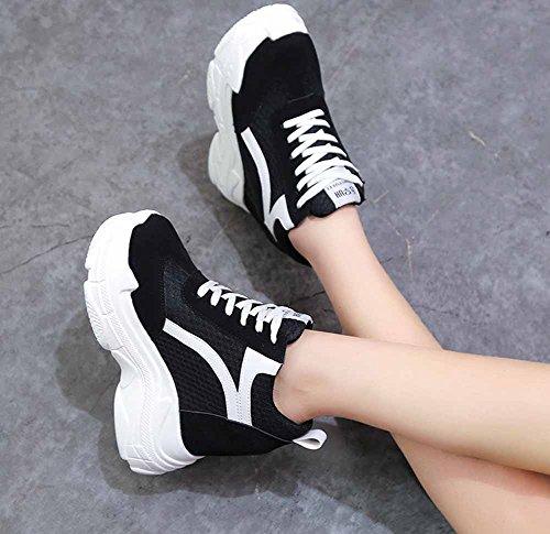 Zapatillas Aumentado Plataforma Black Zapatos Color Alto 2018 Mujer Mezclado Creativo Tacón Grueso 6pwq11x