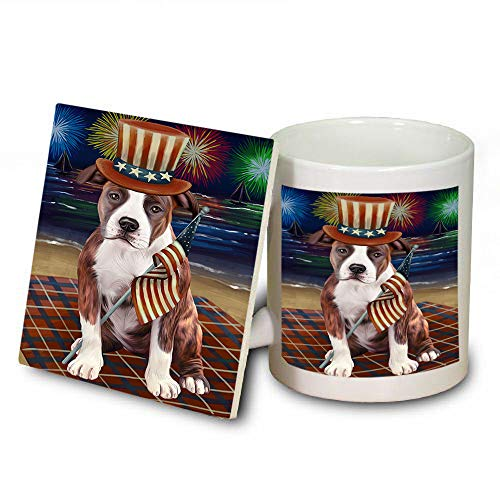 4th of July Independence Day Firework American Staffordshire Terrier Dog Mug and Coaster Set MUC52388 (Safe Independence Dishwasher Coasters)