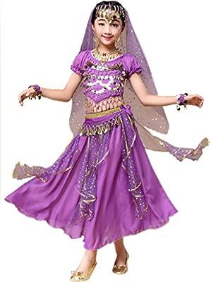 Astage Niña Traje Danza del Vientre Lentejuelas Danza India Halloween Disfraz