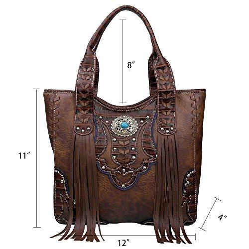 Handbag Closure Women Fringe Dearchuu for Carry Bag Tote Concealed Western PU Bags Brown Studded Shoulder La Rhinestone Bags Shoulder Western Zip Bag a76wxB5qB