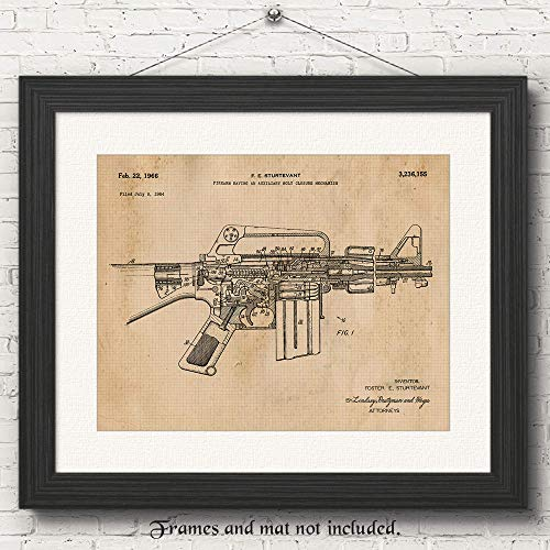 Original AR15 Rifle Patent Art Poster Print - Set of 1 (One11x14) Unframed Photo- Great Wall Art Decor Gifts Under $15 for Home, Office, Studio, Garage, Man Cave, NRA Fan, Collector,Owner, Scarface