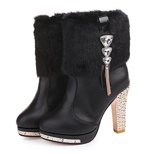 Orcworld Women's Rhinestone Faux-fur Platform High Heel Booties Winter Snow Boots(BLACK)US 8 (Platform Faux Fur)