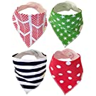 Bandana Baby Bibs and Burp Cloths by Balmy Baby. Set of 4 Baby Bibs with 2 Button Snaps