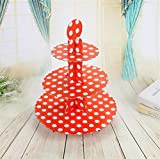 Sevenpring Peculiar Design Paper Cartoon Birthday Party Cake Rack Party Dessert Tray (Red Big Round Dots)