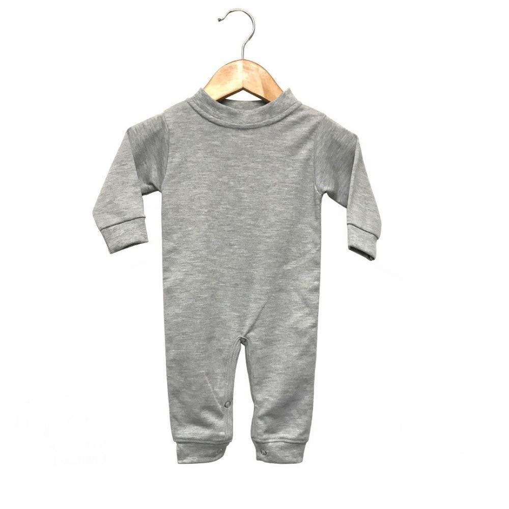 Laughing Giraffe Baby Infant Blank Long Sleeve Jumpsuit Romper Sleep N Play 3-6M, Heather Gray