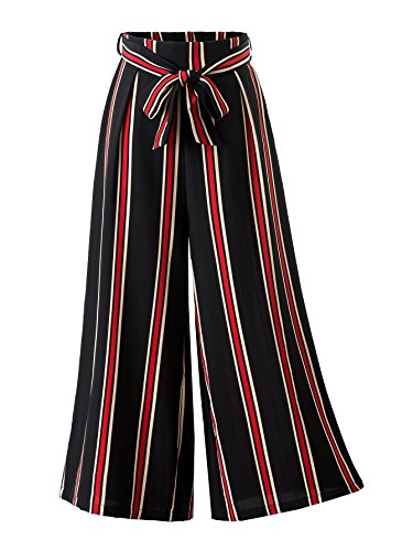 HUILAN Women's Hot Fashion Tenths Wide Leg Pants Bowknot Belted Trousers (Large, Black & Red)
