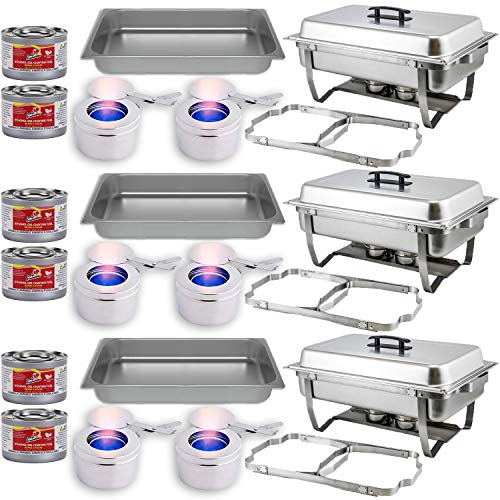 Chafing Dish Buffet Set w/Fuel - Folding Frame + Water Pan + Food Pan (8 qt) + 6 Fuel Holders + 6 Fuel Cans - 3 Full Warmer Kit, Stainless Steel Construction.