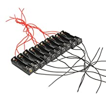Alloet 10pcs Single Slot 1x AA Mobile Battery Clip Holder Case Box with Wire Leads