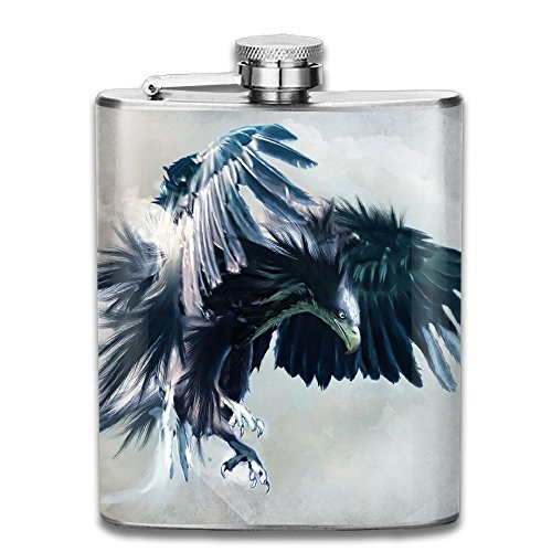 Eagle Wallpaper Graphics Fashion Portable Stainless Steel Hip Flask Whiskey Bottle for Men and Women 7 Oz