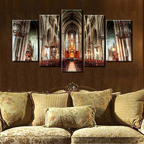 - SHUII 5 Panel Wall Art Painting Prague Cathedral Gothic Architecture Decor Oil Paintings Prints on Canvas Home Decoration 40x60cm 40x80cm 40x100cm