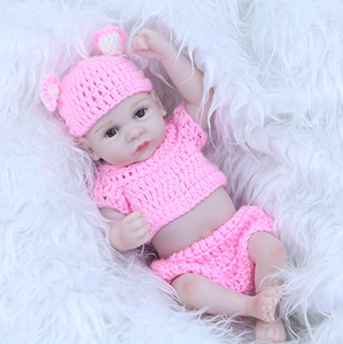 Baby Feels So Real (So Truly Real 11 Inch Reborn Baby Dolls Lifelike Mini Full Silicone Vinyl Newborn Girl Babies With Pink Knitted Clothes Kids Birthday Xmas)