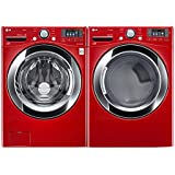 """LG PAIR SPECIAL-""""Wild Cherry Red"""" Ultra Large Capacity Laundry System with Steam Technology(WM3370HRA_DLEX3370R)"""