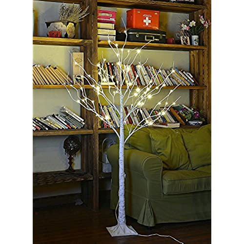 lightshare 4 feet birch tree 48 led lights warm white for home festival party and christmas decoration indoor and outdoor use - Amazon Christmas Decorations Indoor