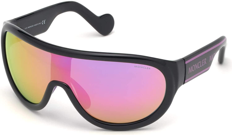 Sunglasses Moncler ML 0106 01U Shiny Black Pink Logo//Bordeaux Mirrored Lens