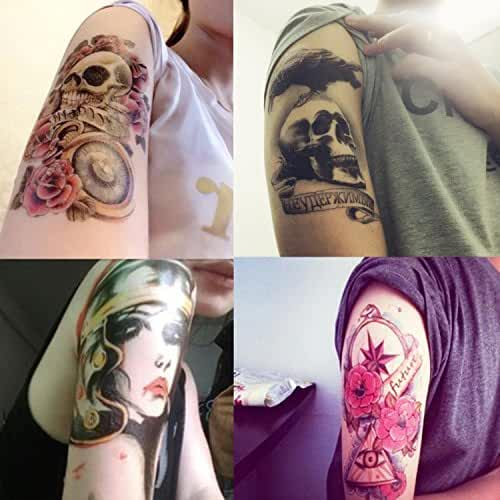 DaLin 4 Sheets Rocking Your Life Temporary Tattoos Flower Skull, Rock Lady