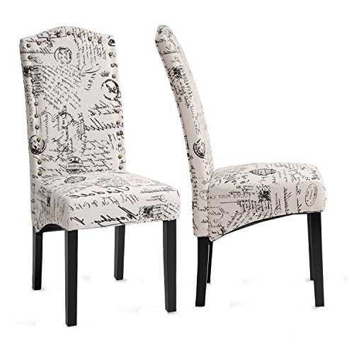 Merax PP036312AAA Dining Script Fabric Accent Chair with Solid Wood Legs, Set of 2 (Dining Chairs Accent)