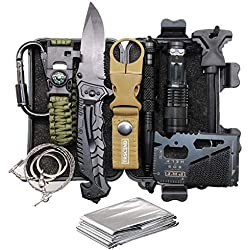 TRSCIND Valentine's Day Birthday Gift for Him Men Dad Boyfriend, 11-in-1 Survival Gear Kits with Paracord Bracelet, Multi-Purpose EDC Emergency Tools and Everyday Carry Gear, Official Survival Kit