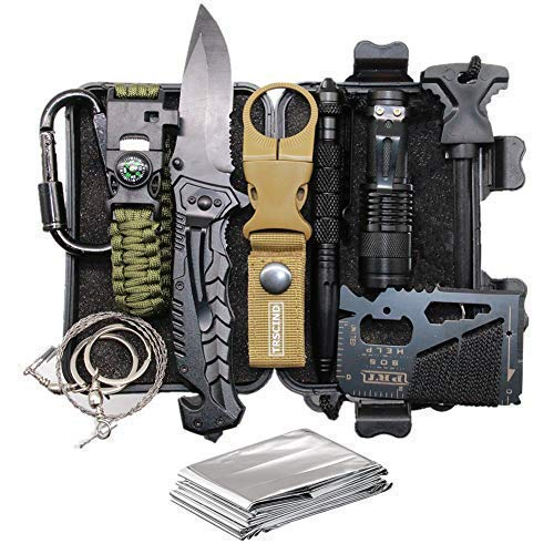 TRSCIND Father's Day Birthday Gift for Him Men Dad Boyfriend, 11-in-1 Survival Gear Kits with Paracord Bracelet, Multi-Purpose EDC Emergency Tools and Everyday Carry Gear, Official Survival Kit