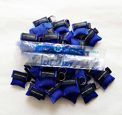 100 Blue CPR Mask with Keychain Face Shield key AED Key Chain Disposable Mask by KTKANG (Image #4)