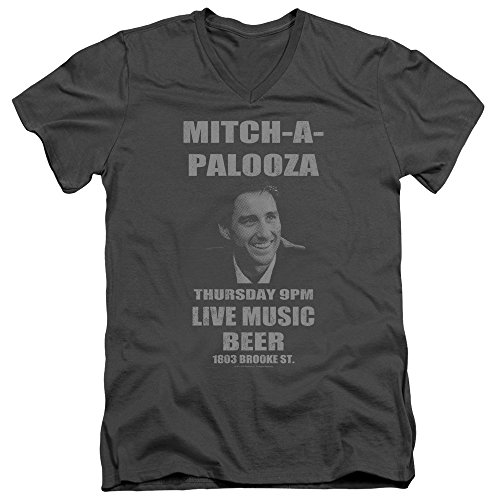 (Old School Mitchapalooza Unisex Adult V-Neck T Shirt for Men and Women, Small Charcoal)