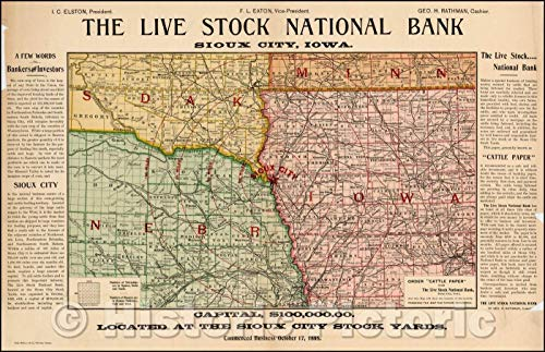 National Bank Stock - Historic Map | The Live Stock National Bank - Sioux City, Iowa, 1895, Rand McNally & Company | Vintage Wall Art 44in x 29in