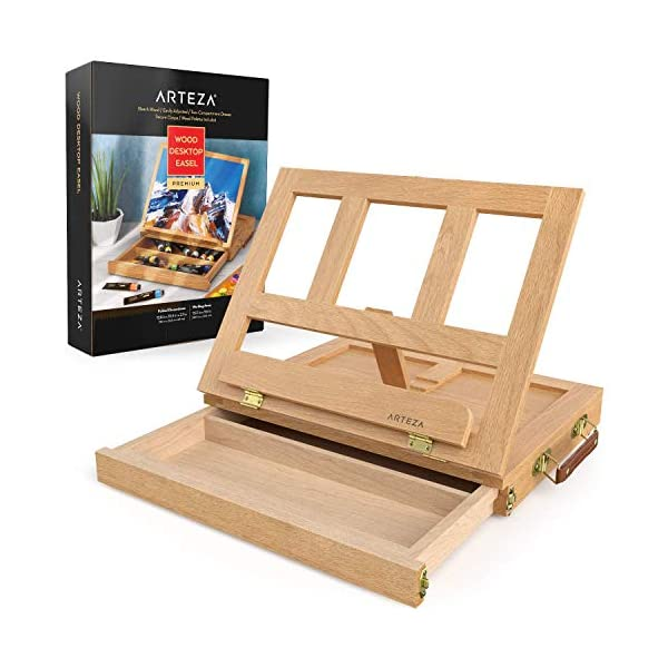 Arteza-Wood-Tabletop-Easel-1338-x-1025-x-2-Inch-Portable-Artist-Easel-Box-Adjustable-Desk-Table-Easel-with-Storage-Drawer-and-Palette-for-Painting-Drawing-Displaying-Artwork