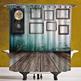 Stylish Shower Curtain 3.0 [ Clock Decor,A Vintage Clock and Empty Picture Frames in an Old Room Wooden Backdrop,Green and Brown ] Digital Printing Polyester Antique Theme with Adjustable Hook