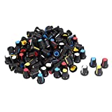 Uxcell a15032300ux0532 Potentiometer Volume Control Knob Cap with 100 Piece, Knurled Shaft 6 mm Diameter