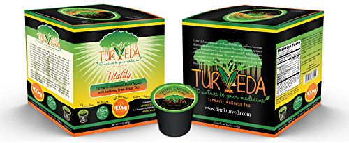 Turveda Golden Tea, Turmeric Cardamom Tea for Keurig K-Cup Brewer, Green Tea Caffeinated, 95% Curcumin K-Cup Supplement For Cardiovascular Support & Healthy Aging, 100% Natural,15 Single Serve Cups
